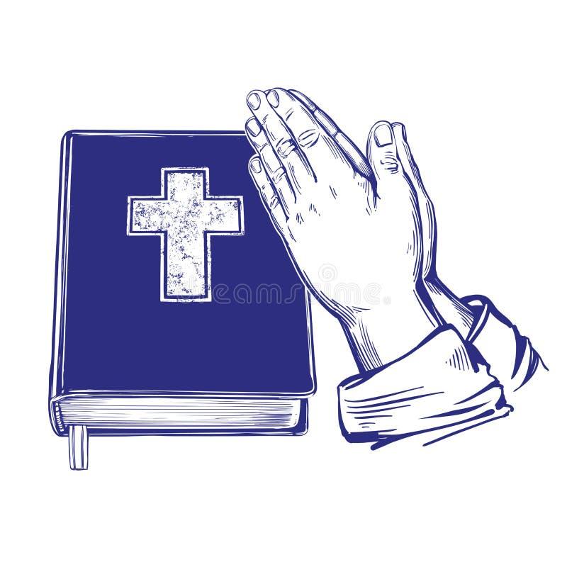 Pregare le mani, bibbia, vangelo, la dottrina di Cristianità, simbolo dell'illustrazione disegnata a mano di vettore di Cristiani illustrazione vettoriale