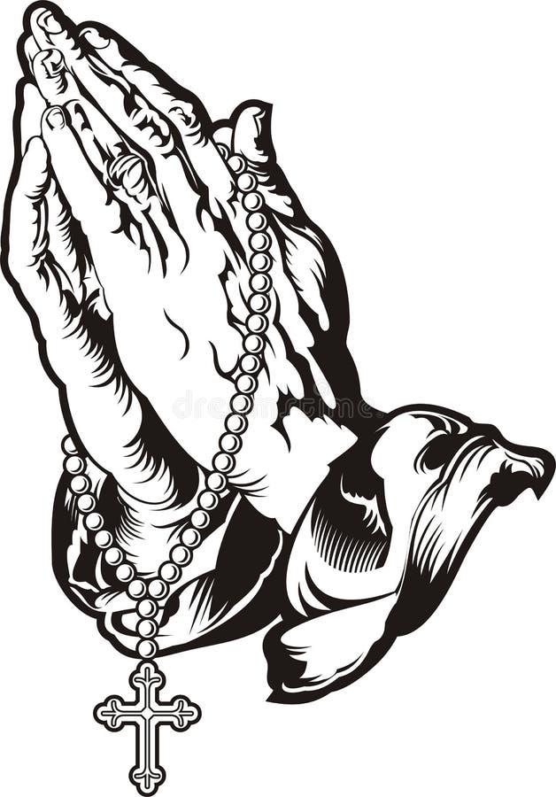 Pregare le mani con il tatuaggio del rosario illustrazione vettoriale