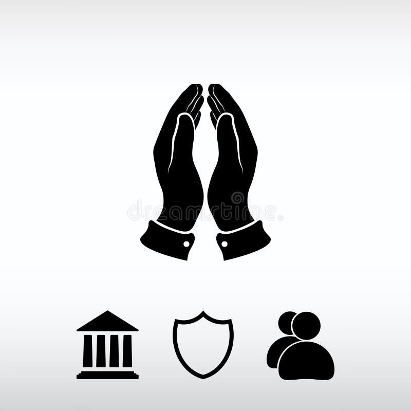 Pregare le mani icona, illustrazione di vettore Stile piano di progettazione immagini stock libere da diritti