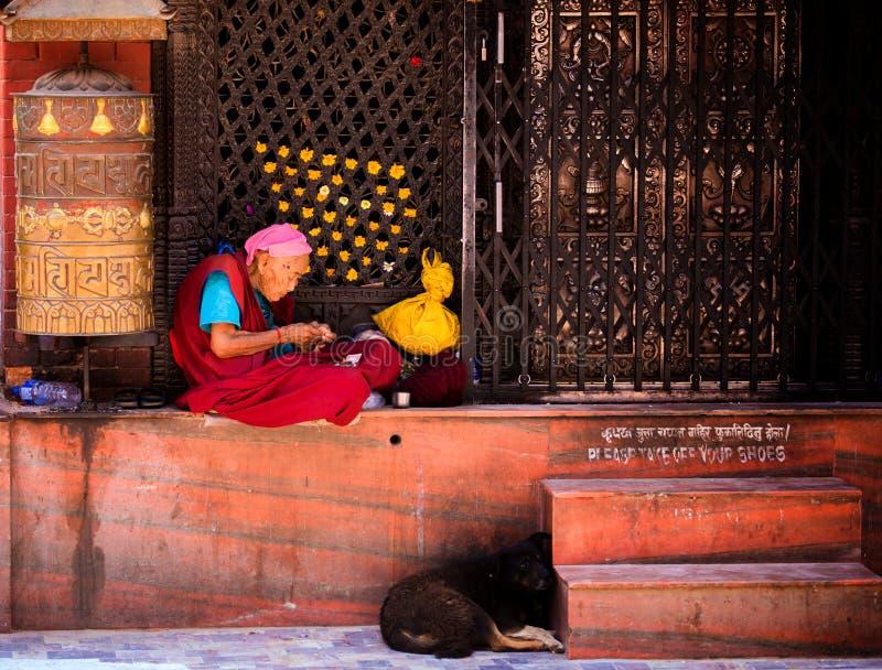 Pregare nepalese della donna fotografia stock