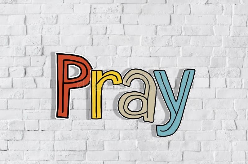 Preghi i concetti di parola isolati su fondo immagini stock
