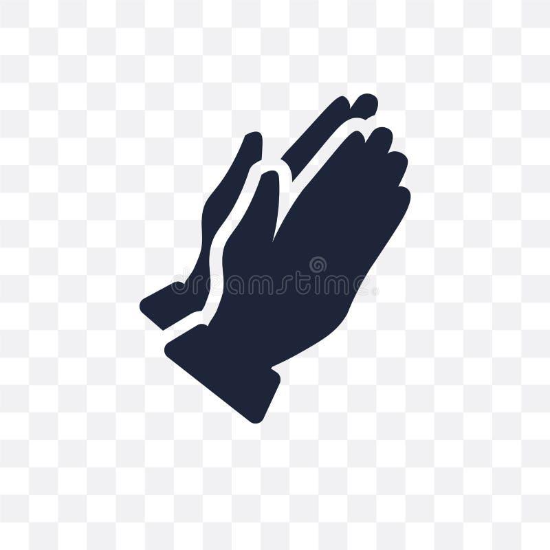 Preghi l'icona trasparente Preghi la progettazione di simbolo dal collecti di religione illustrazione di stock