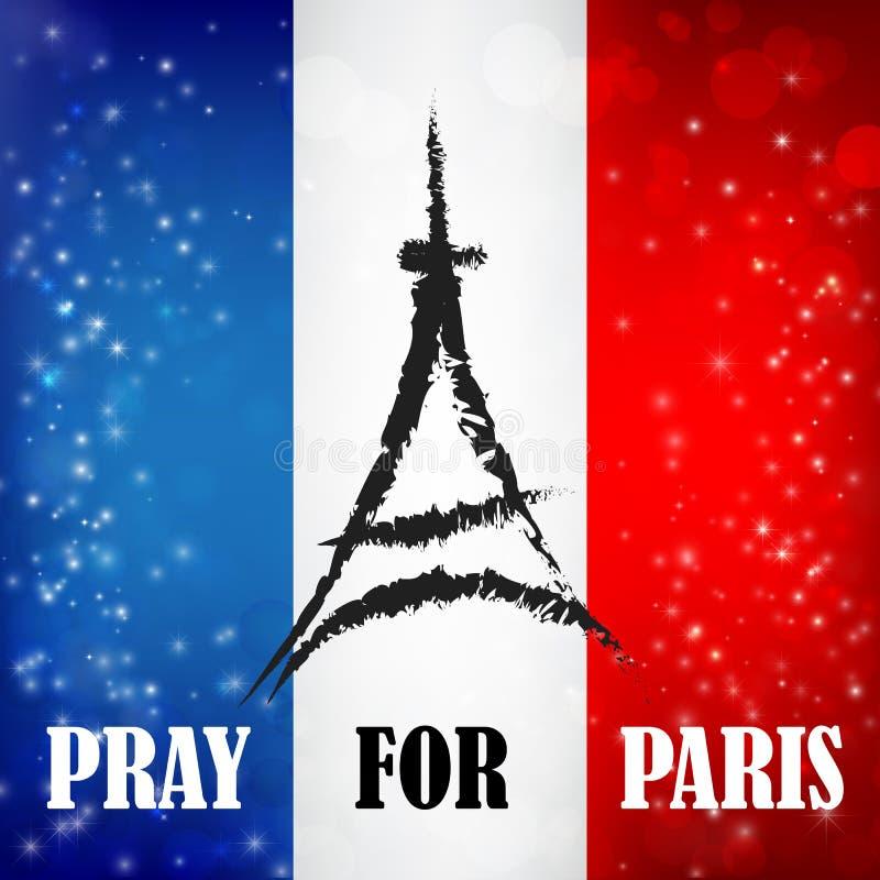 Preghi per le parole di Parigi con il simbolo del punto di riferimento sul bokeh a della bandiera della Francia illustrazione vettoriale
