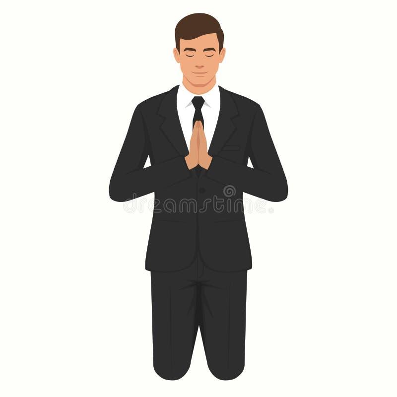 Preghiera cristiana isolata, inginocchiantesi e pregante persona illustrazione di stock