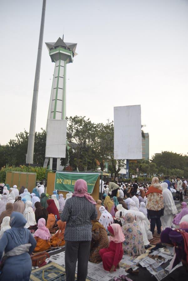 Preghiera di Ied nel campo Simpanglima Samarang fotografia stock