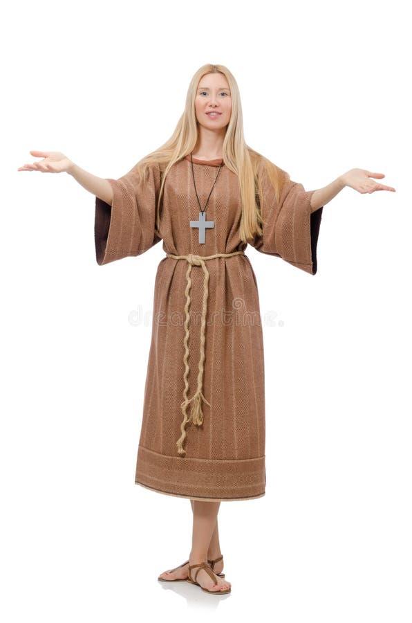 Preghiera femminile isolata su bianco fotografie stock libere da diritti