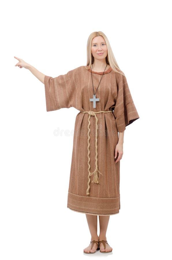Preghiera femminile isolata sul bianco fotografie stock
