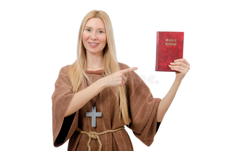 Preghiera femminile isolata sul bianco fotografia stock libera da diritti