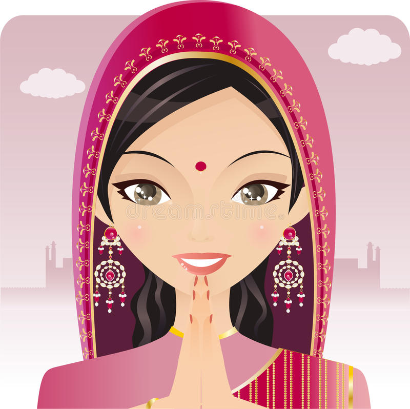Preghiera indiana della donna illustrazione vettoriale