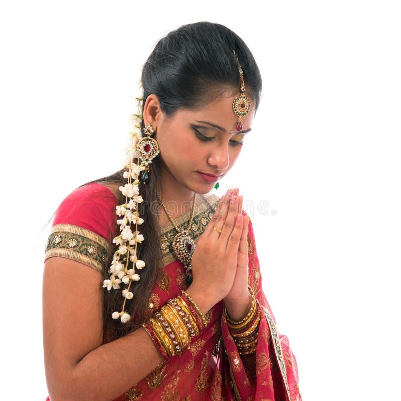 Preghiera indiana isolata fotografia stock
