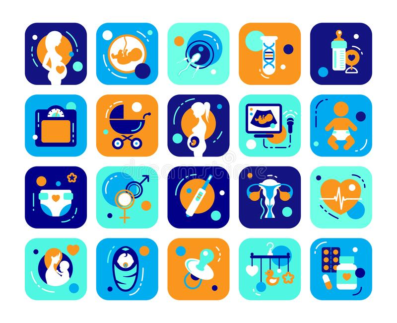 Pregnancy and Baby flat icons set. Medicine symbols: mother, fetus and newborn health care, diagnostic equipment, medical tools concept. Sign for web page royalty free illustration