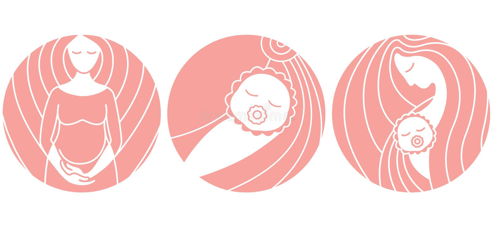 Pregnancy and childbirth. Linear vector icons. Pregnant woman, baby and mother on pink background vector illustration