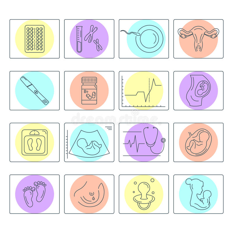 Pregnancy and childbirth. Vector line icons. Pregnancy and childbirth. Obstetrics and gynecology vector line icons set. Preparing a woman for pregnancy and stock illustration