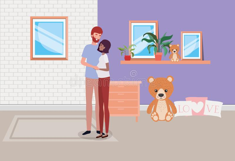 Pregnancy couple in house place with drawer. Vector illustration design stock illustration