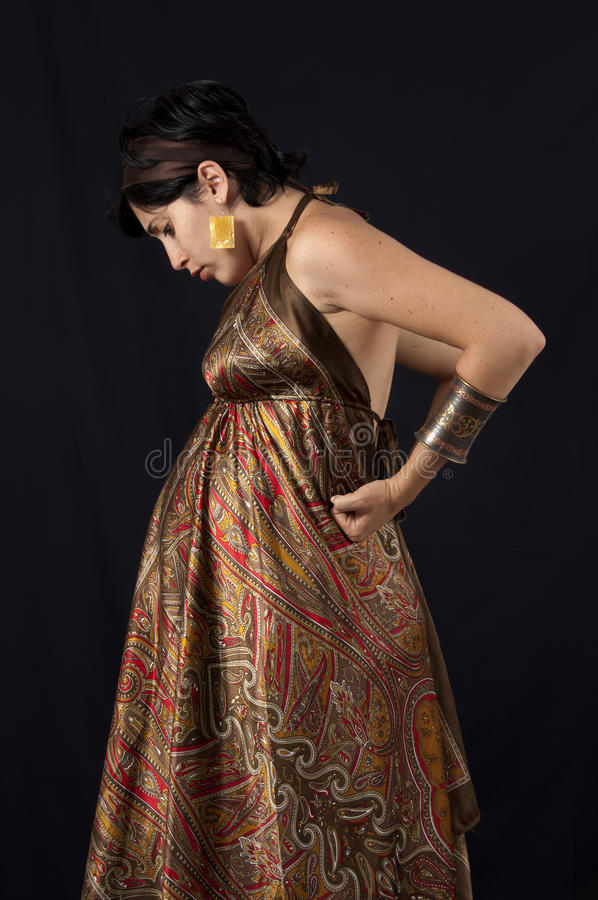Pregnancy fashion woman on black royalty free stock photography