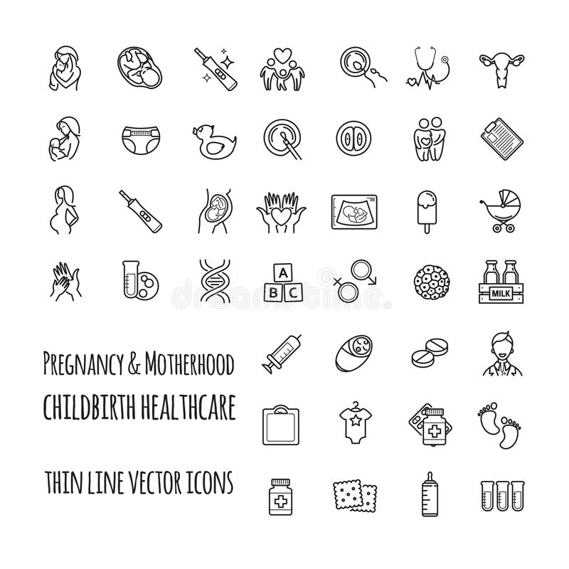 Free Pregnancy, Fertilization And Motherhood Vector Icon Set. Gynecology, Childbirth Healthcare Thin Line Icons Set Royalty Free Stock Image - 105977486