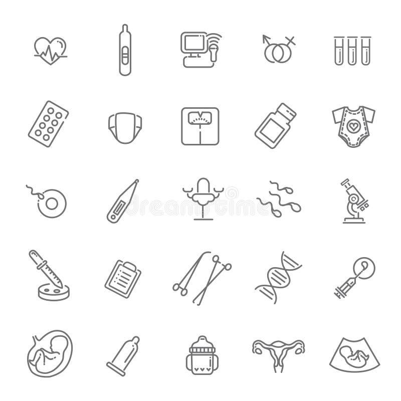 Pregnancy, gynecology, childbirth and motherhood line icons set. Childbirth and motherhood outline icons set vector illustration