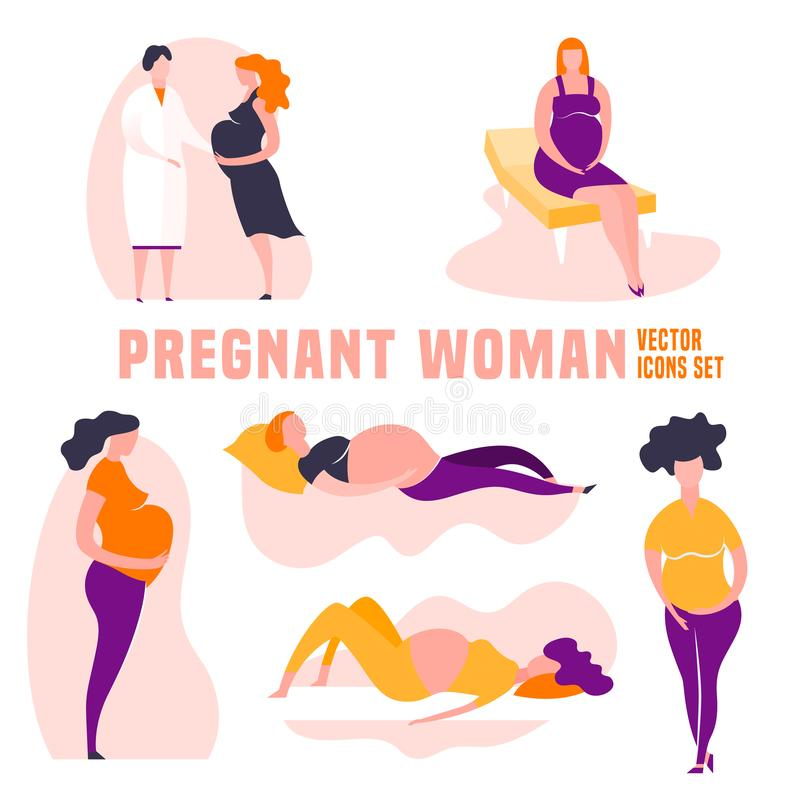 Pregnancy icons set stock images