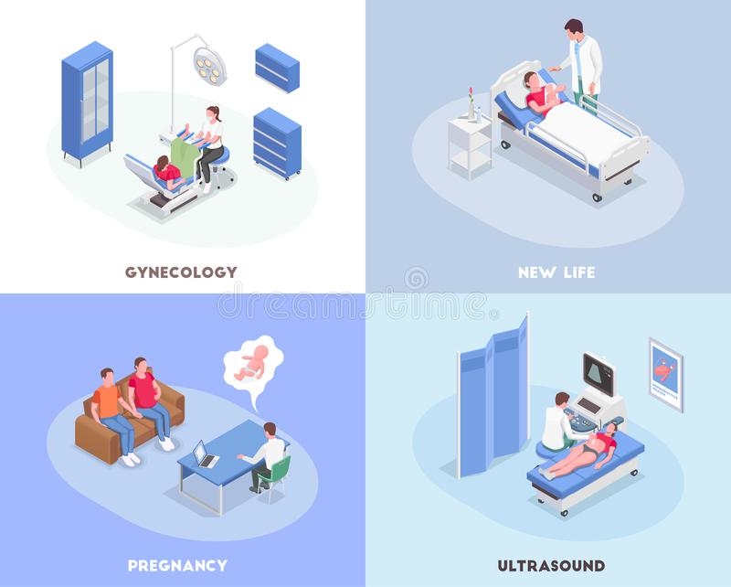 Pregnancy Isometric 2x2 Design Concept royalty free illustration