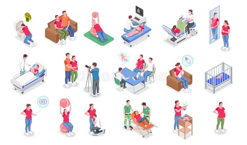 Pregnancy Isometric Set stock illustration