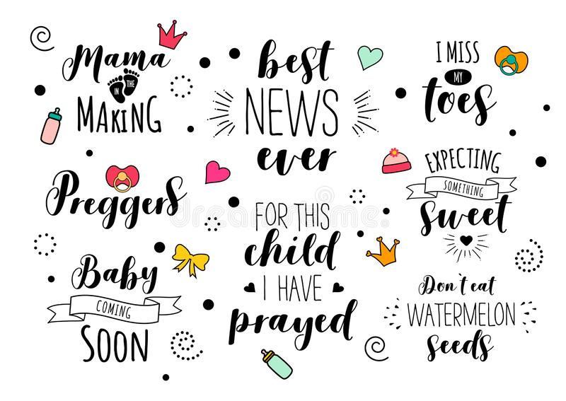 Pregnancy Mama mother pregnant quote lettering set vector illustration