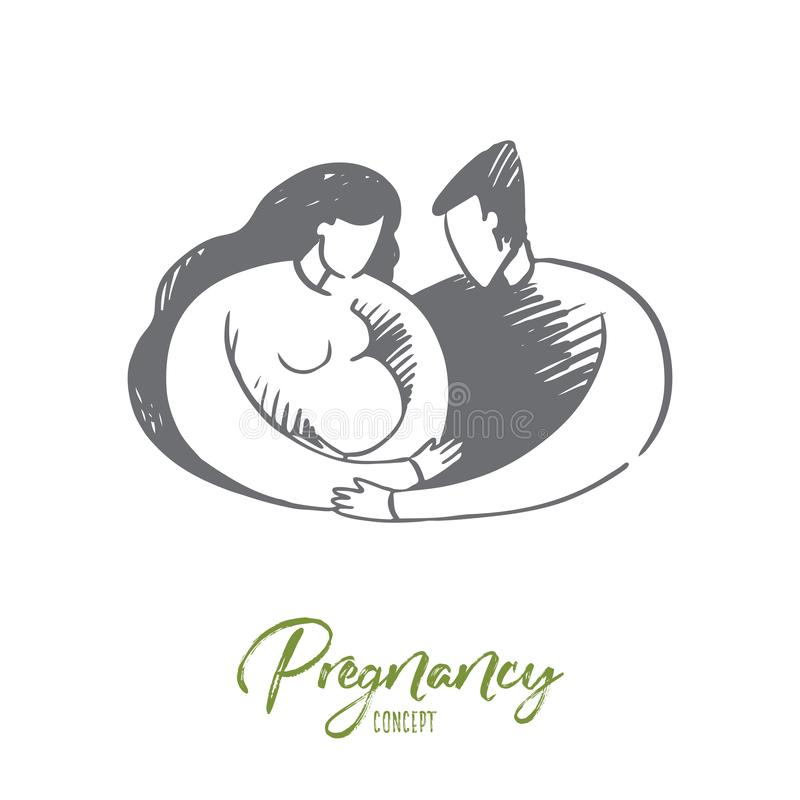 Pregnancy, man, woman, together, family concept. Hand drawn isolated vector. stock illustration