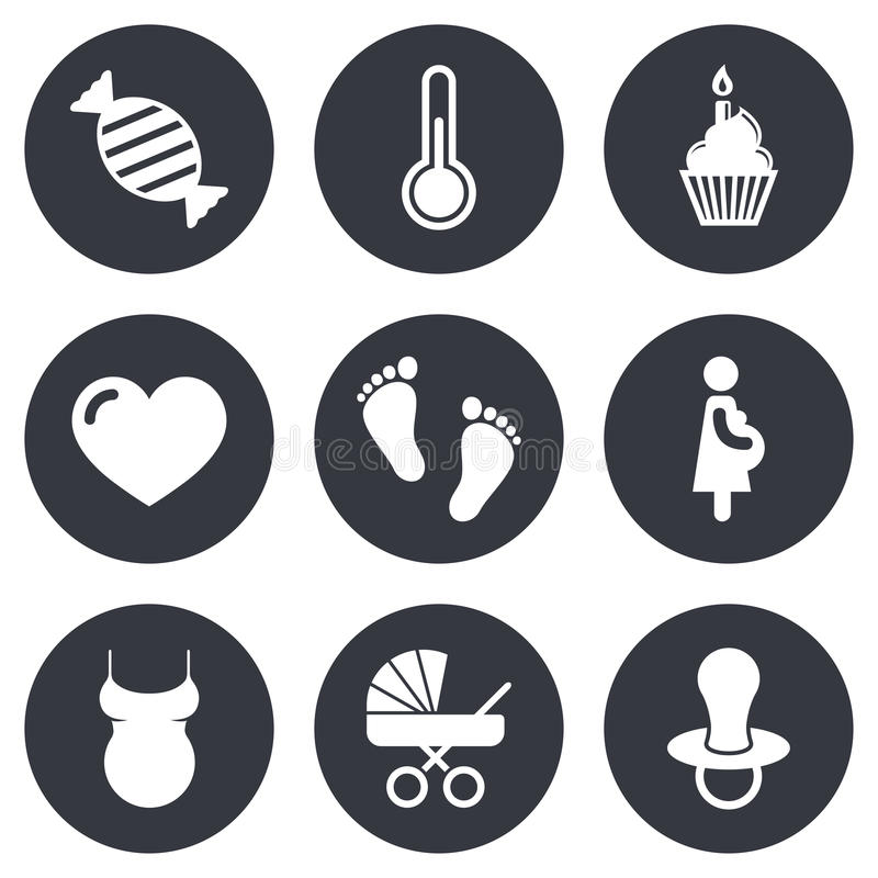 Pregnancy, maternity and baby care icons. Candy, baby carriage and pacifier signs. Footprint, cake and thermometer symbols. Gray flat circle buttons. Vector royalty free illustration