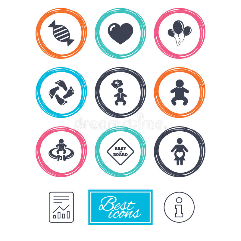 Pregnancy, maternity and baby care icons. Candy, strollers and fasten seat belt signs. Footprint, love and balloon symbols. Report document, information icons royalty free illustration