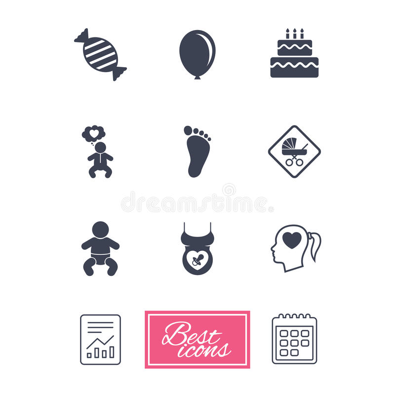 Pregnancy, maternity and baby care icons. Candy, strollers and pacifier signs. Footprint, birthday cake and heart symbols. Report document, calendar icons vector illustration