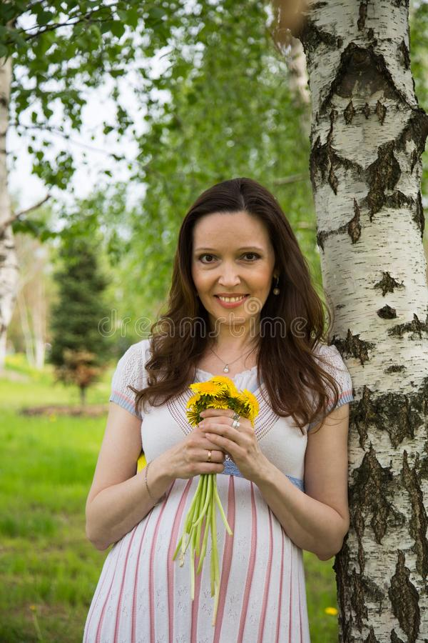 Pregnancy, motherhood, the concept of waiting-close - up of a happy pregnant woman with a big belly with a bouquet of flowers at t. He birch, love happiness baby royalty free stock image