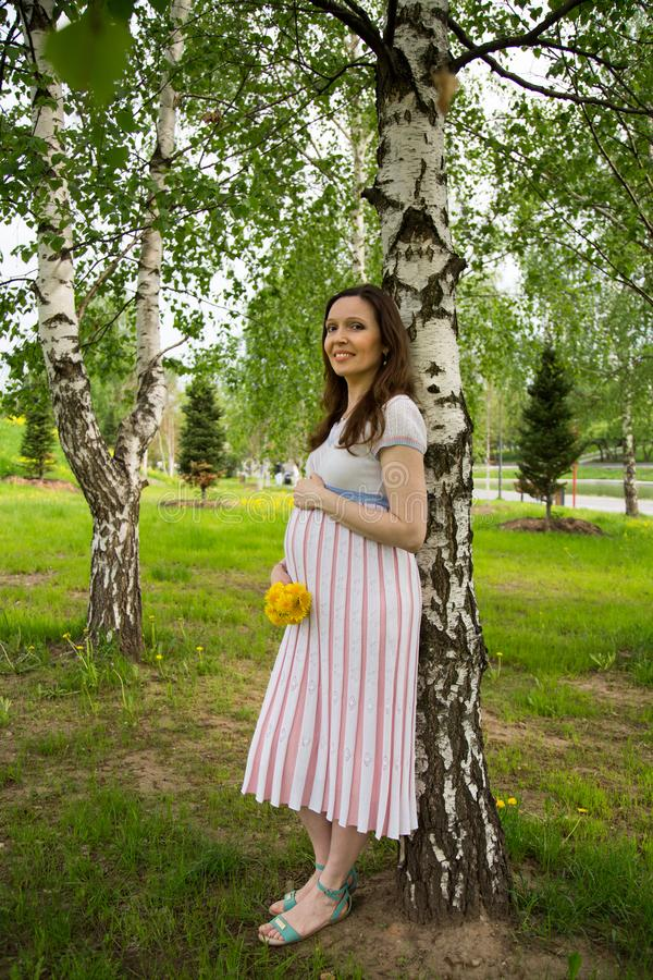 Pregnancy, motherhood, the concept of waiting-close - up of a happy pregnant woman with a big belly with a bouquet of flowers at t. He birch, love happiness baby stock images