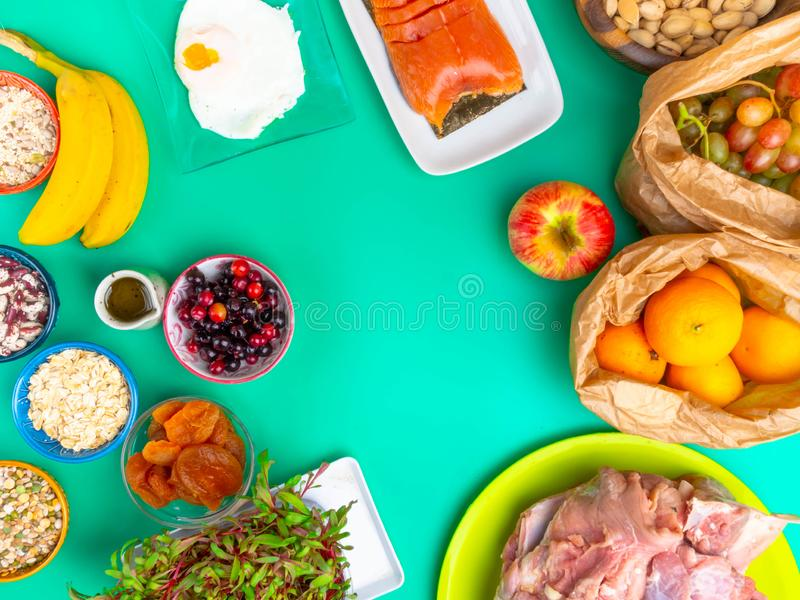 Pregnancy and nutrition, pregnant women healthy food diet, rich in iron, calcium, protein, vitamin, minerals, folic acid (vitamin. B9), healthy lifestyle royalty free stock image