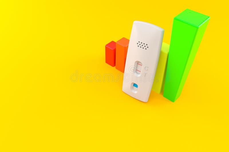Pregnancy test with chart. Isolated on orange background. 3d illustration vector illustration