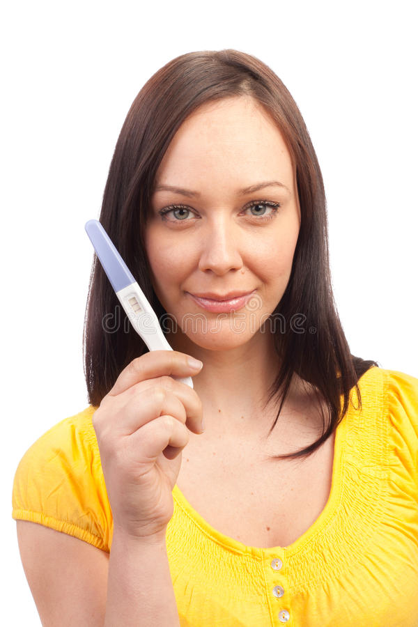 Download Pregnancy Test. Happy Woman With Positive Result Stock Photo - Image: 18925856