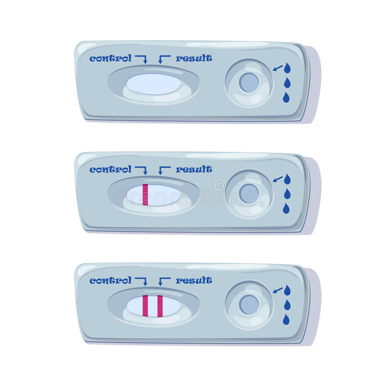 Pregnancy Tests Set. Positive and Negative Result. Examination test pregnant woman. Vector.  stock illustration