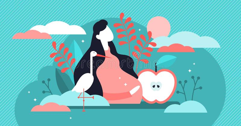 Pregnancy vector illustration. Flat tiny pregnant mothers persons concept. Unborn children care in belly. Abstract maternity love and baby birth expectations stock illustration