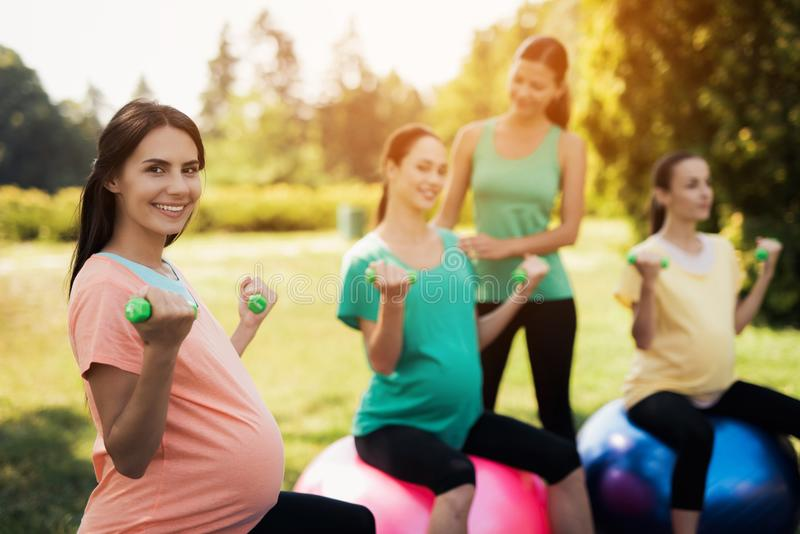 Pregnancy yoga. Three pregnant women are engaged in fitness in the park. They sit on balls for yoga stock photo