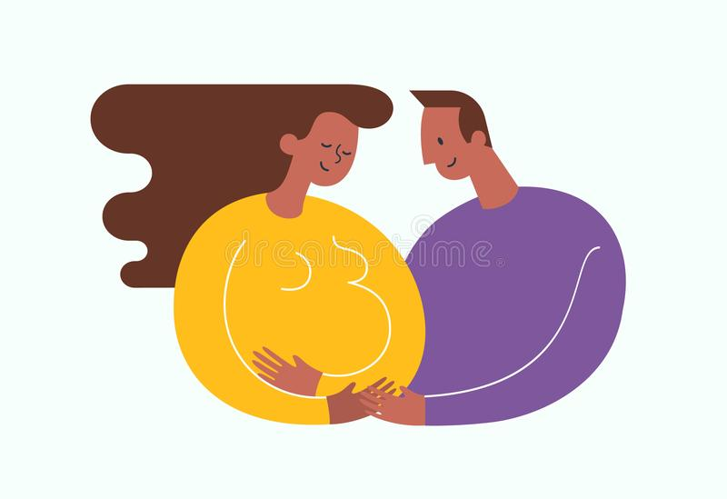 Pregnant African-Americam woman stroking her belly. Happy dad embracing her. Happy motherhood and baby expectation. Concept. Modern vector illustration vector illustration
