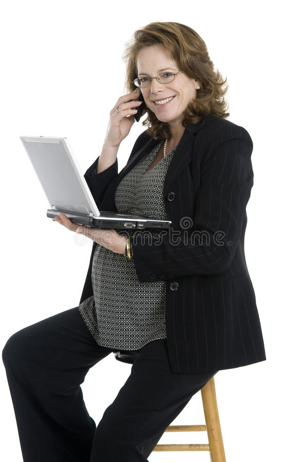 Download Pregnant businesswoman stock image. Image of phone, isolated - 17676931