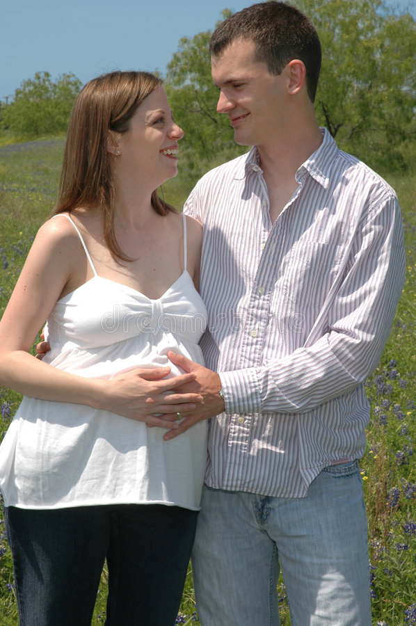 Download Pregnant Couple stock photo. Image of field, blue, best - 2363200