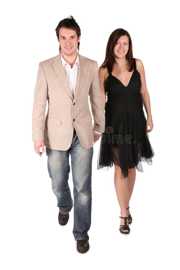 Pregnant couple step forward royalty free stock images
