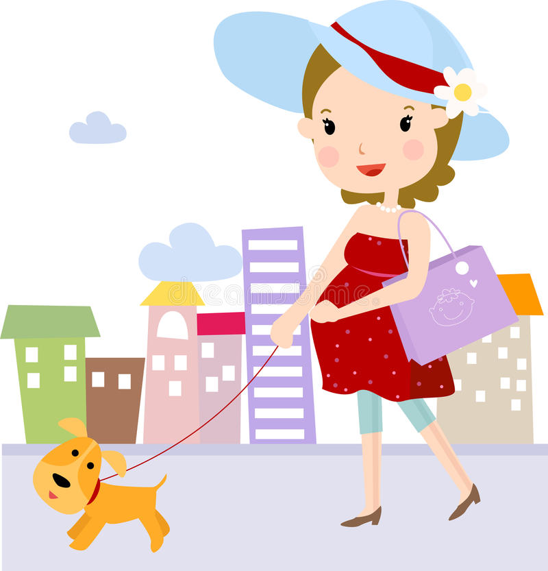 Pregnant And Dog Stock Images