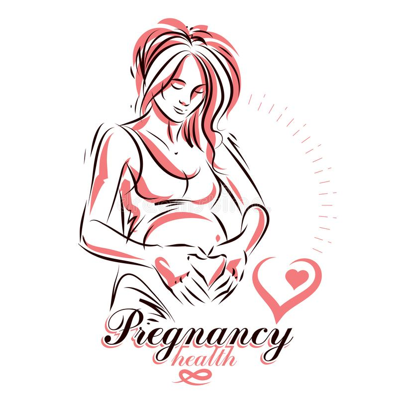 Pregnant female body shape hand drawn vector illustration, beautiful lady gently touching her belly. Mother Day conceptual flyer royalty free illustration