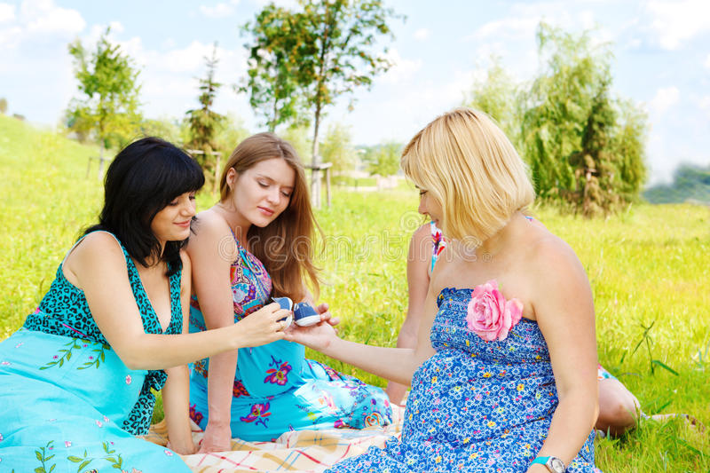 Download Pregnant female friends stock photo. Image of curious - 20546090