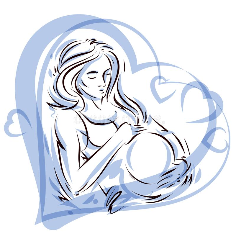 Pregnant female surrounded by heart shape frame hand drawn vector illustration, beautiful lady gently touching her belly. Love. And tenderness concept vector illustration