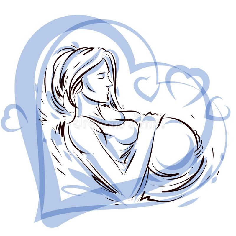 Pregnant female surrounded by heart shape frame hand drawn vector illustration, beautiful lady gently touching her belly. Love. And tenderness concept royalty free illustration