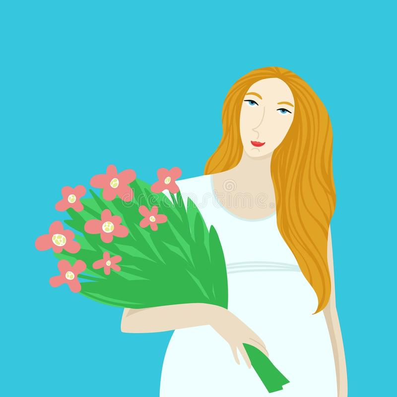 Pregnant girl with with bouquet of flowers. Spring cartoon illustration. stock images