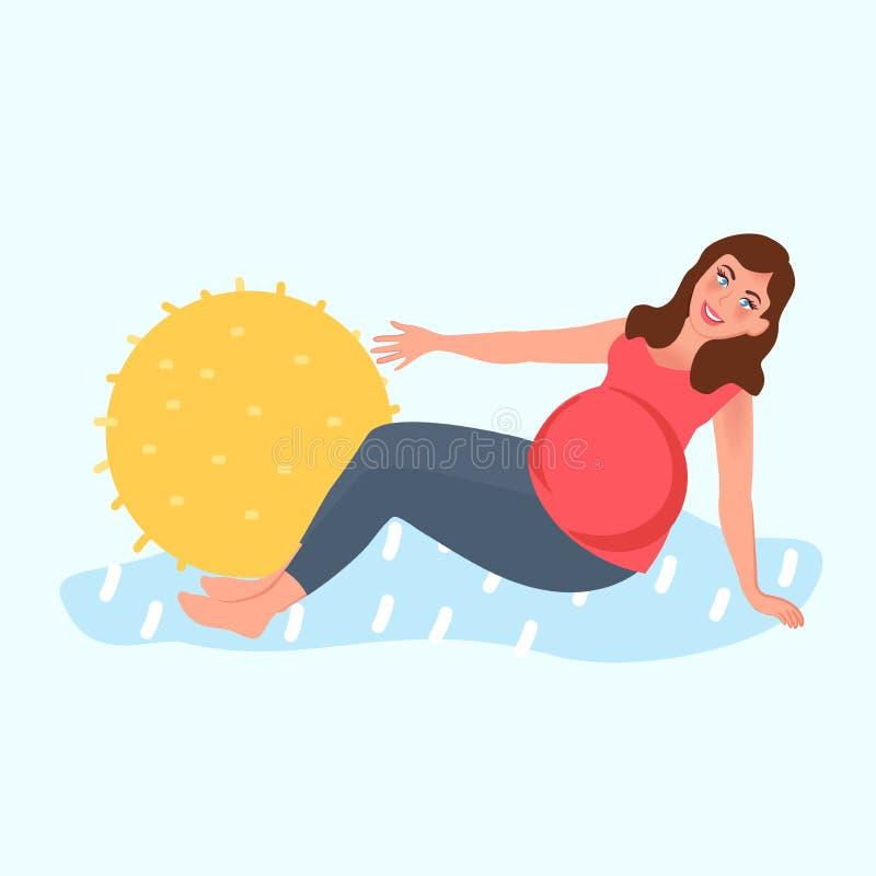 Pregnant girl doing Pilates. Leisure pregnant girl. Motherhood, waiting for the baby. Vector illustration of pregnancy vector illustration