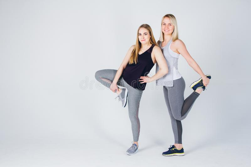 Pregnant girl and her friend are engaged in fitness stock photography