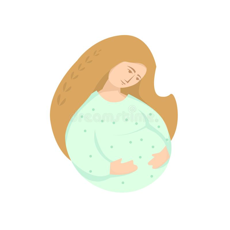 Waiting for childbirth. Pregnant girl with long hair. Waiting for childbirth. Miracle. Quiet happiness vector illustration